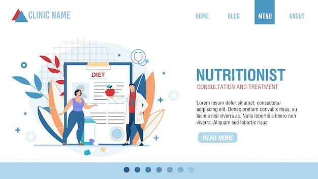 Consulta nutricionista página de inicio del tratamiento