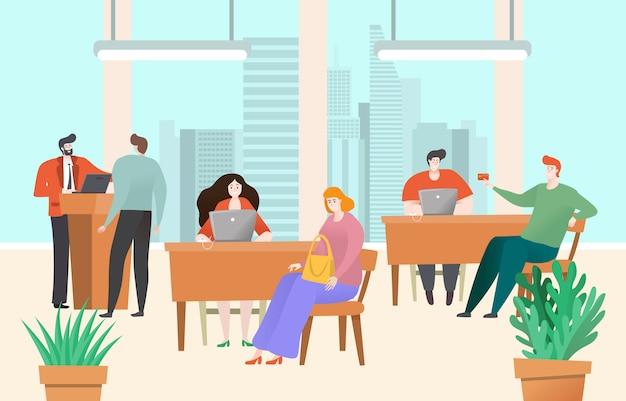 Consulta de la oficina del banco, gerente de cuenta hablar con un cliente feliz, personal de servicio al cliente, ilustración