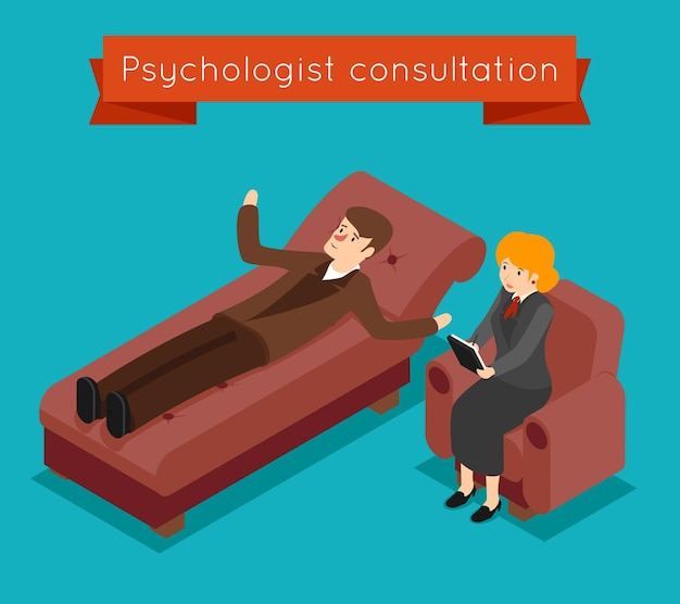 Consulta de psicólogo. concepto de problemas mentales en estilo isométrico 3d.