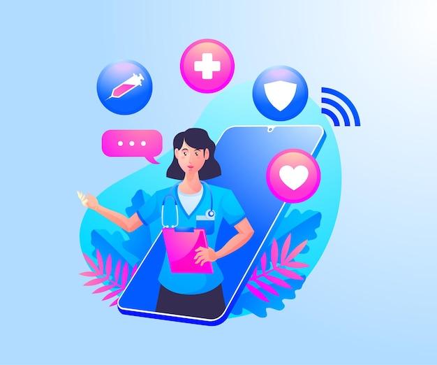Consulta de salud en línea con médicos y un teléfono inteligente móvil