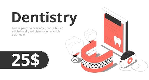 La consulta del servicio de ortodoncia de odontología ofrece una composición isométrica con un banner de aparatos dentales de implantes de registros de pacientes