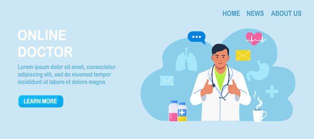 Consulta y soporte médico online. médico en línea. aplicación web sanitaria. pregunte al médico. terapeuta familiar con estetoscopio realiza diagnósticos a través de internet