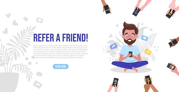 Consulte un concepto de amigo con manos de dibujos animados sosteniendo un teléfono. banner de estrategia de marketing de referidos