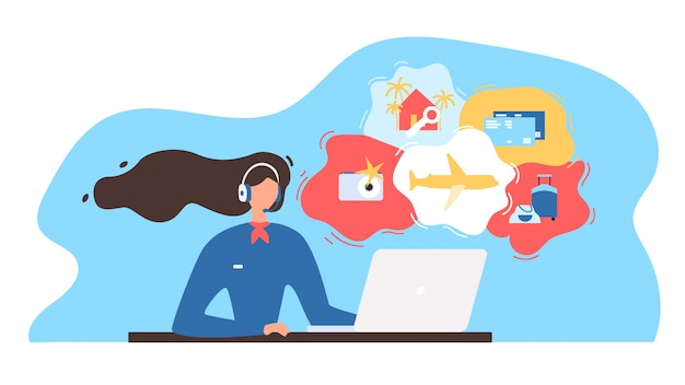 Consultor de agencia de viajes que trabaja en línea vector