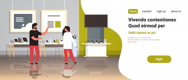 Consultor hombre proporciona asesoramiento experto cliente mujer en tienda de tecnología moderna interior computadora digital laptop smartphone tv aparatos electrónicos