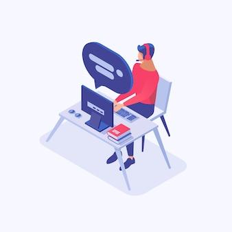 Consultor masculino de soporte al cliente, comercializador, comerciante, empleado de oficina en el lugar de trabajo personaje 3d