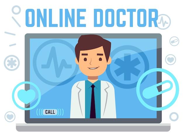 Consultor médico en línea iconos planos