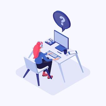 Consultora, empleada con auriculares en el lugar de trabajo, soporte técnico global en línea.