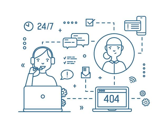 Consultora usando audífonos con micrófono respondiendo preguntas de clientes dibujadas con contornos. soporte técnico las 24 horas