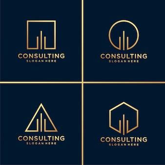 Consultoría dorada o logotipo de construcción y tarjeta de visita con diseño de arte lineal. oro, construcción, consultoría, gráfico, tarjeta de presentación, empresa, oficina, premium