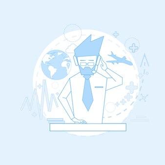 Consultoría hombre agencia de turismo soporte chat