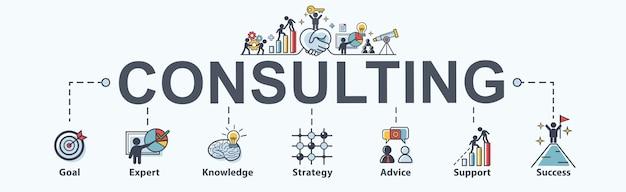Consultoría de icono de web de banner para negocios.