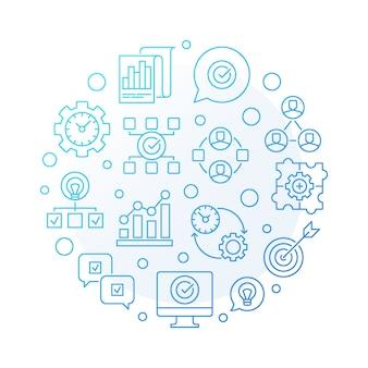 Consultoría de negocios ronda ilustración de icono de contorno azul