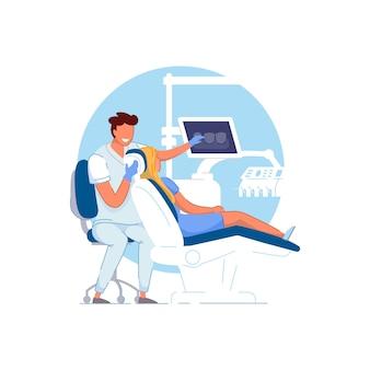 Consultorio de ortodoncia. médico ortodoncista examinando