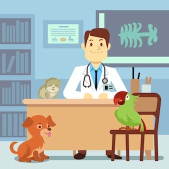 Consultorio veterinario con médico y mascotas.