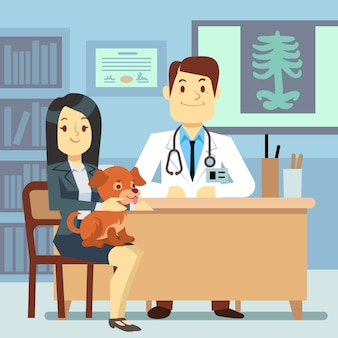 Consultorio veterinario - mujer con perro y veterinario.