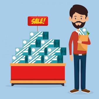 Consumidor con bolsa de compras