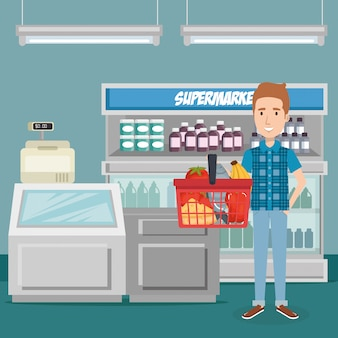 Consumidor con cesta de compras de comestibles