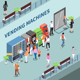 Consumidores cerca de máquinas expendedoras en el vestíbulo del centro de negocios composición isométrica ilustración vectorial