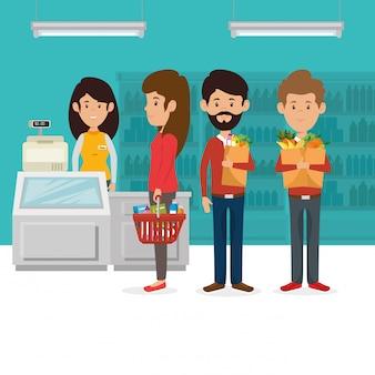 Los consumidores con la cesta de supermercado de comestibles