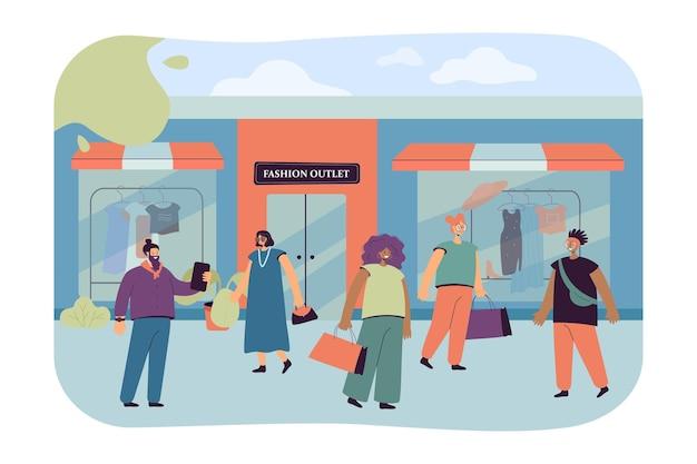 Consumidores felices eligiendo ropa en tienda o boutique ilustración plana