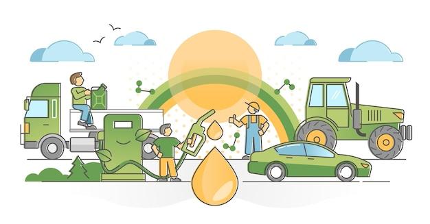 El consumo de biocombustible como concepto de esquema de combustible alternativo limpio, libre de emisiones y verde. industria de recursos renovables con ilustración de estación de bombeo de transporte de vehículos respetuosos con el medio ambiente.