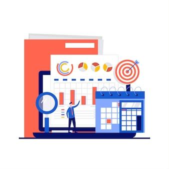 Contabilidad y auditoría con documentos y gráficos en la pantalla de la computadora portátil en diseño plano