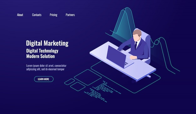 Contabilidad de gestión de dinero, marketing digital, hombre sentado y trabajo en la computadora.