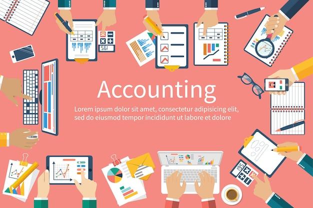 Contabilidad. trabajo en equipo sobre contabilidad, planificación estratégica, análisis, investigación de mercados, gestión financiera. reunión de negocios, trabajo en equipo, lluvia de ideas. equipo de empresarios en el trabajo.