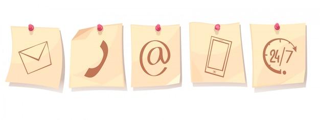 Contáctanos concepto de dibujos animados retro con hojas de papel en tachas con iconos de servicio de soporte