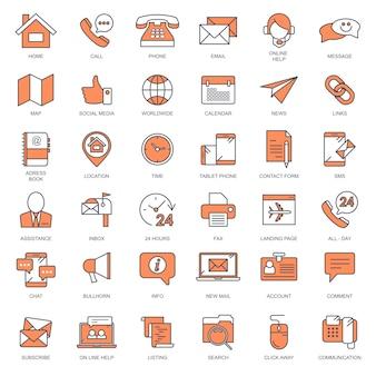 Contáctanos y conjunto de iconos de atención al cliente