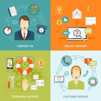 Contáctanos elementos y personajes de atención al cliente