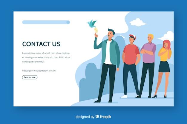 Contacte con nosotros landing page diseño plano