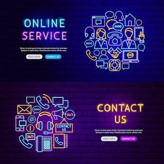 Contáctenos banners. ilustración de vector de promoción empresarial.