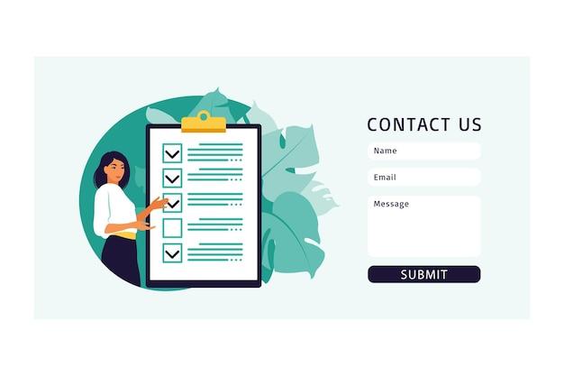 Contáctenos diseño de página de plantilla de formulario