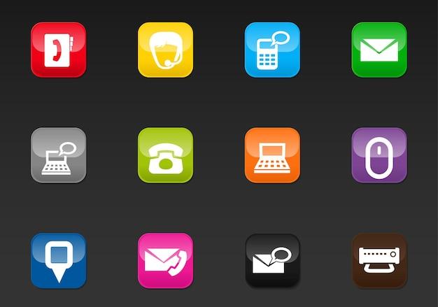 Contáctenos iconos vectoriales para el diseño de la interfaz de usuario