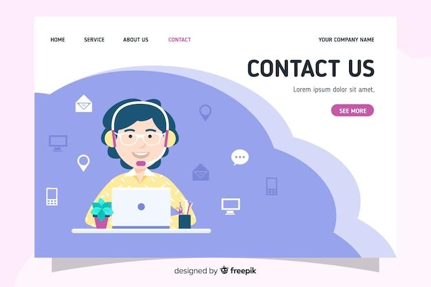 Contáctenos página de inicio con diseño plano