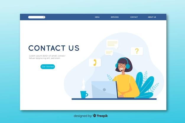 Contáctenos página de inicio en diseño plano
