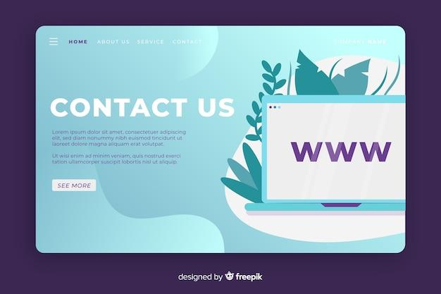 Contáctenos página de inicio con escritorio