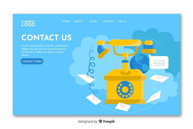 Contáctenos página de inicio con teléfono clásico
