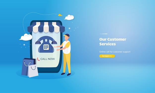 Contáctenos en la página web de ilustración para el servicio al cliente de la tienda en línea