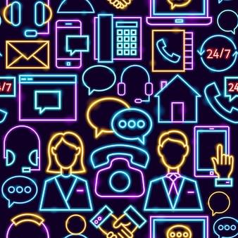 Contáctenos de patrones sin fisuras. ilustración de vector de conocimiento empresarial.
