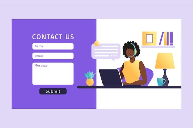 Contáctenos plantilla de formulario para web. agente de servicio al cliente femenino africano con auriculares hablando con el cliente. página de destino. atención al cliente en línea. ilustración.