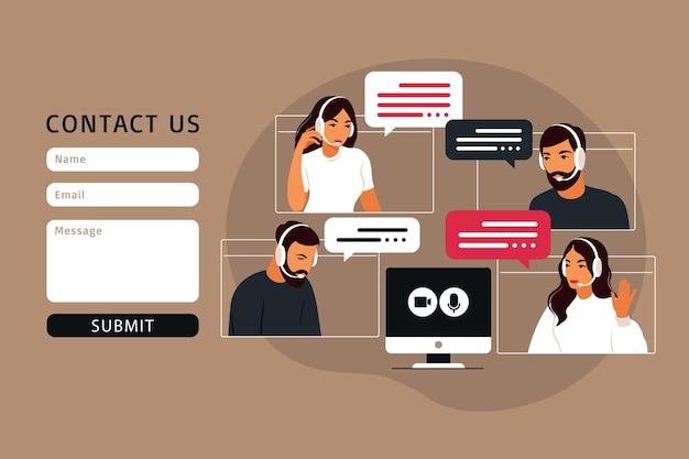 Contáctenos plantilla de formulario para web. video reunión de grupo de personas. reunión online mediante videoconferencia. trabajo remoto, concepto de tecnología. ilustración de vector de estilo plano.