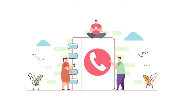 Contacto telefónico en estilo plano