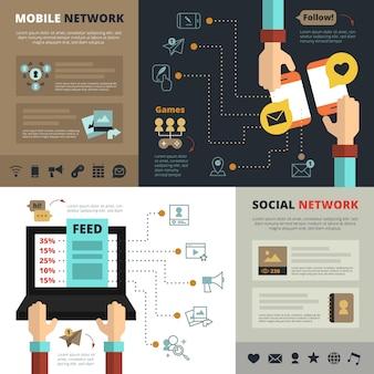 Contactos de redes sociales móviles alimentan banners de composición plana.