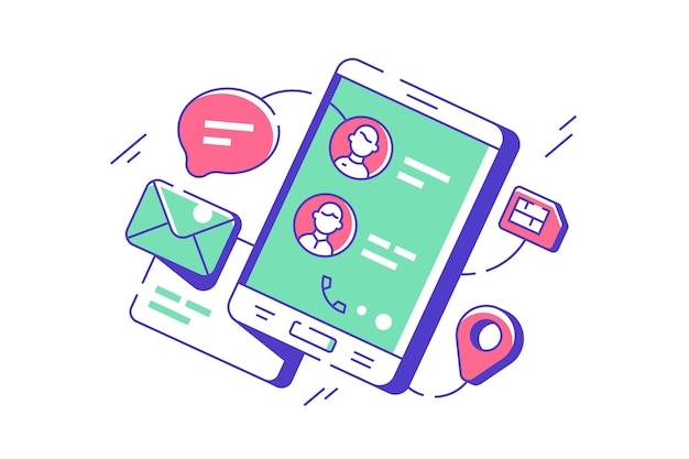 Contactos telefónicos modernos en la aplicación digital de teléfono móvil