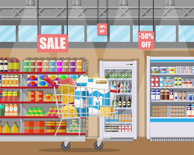 Contador de leche en el supermercado con productos lácteos