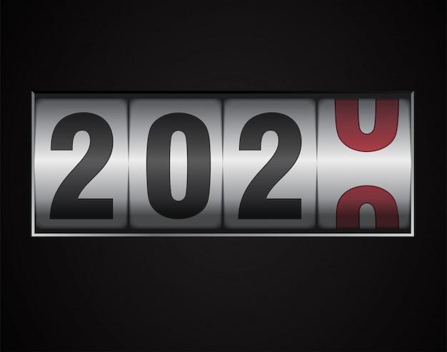 Contador mecánico que muestra 2020 dígitos
