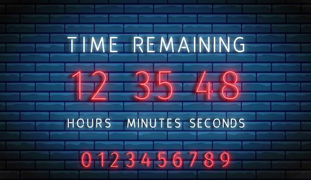 Contador regresivo. contador de reloj de neón. tablero de tiempo restante. cuenta atrás digital. marcador en exhibición.